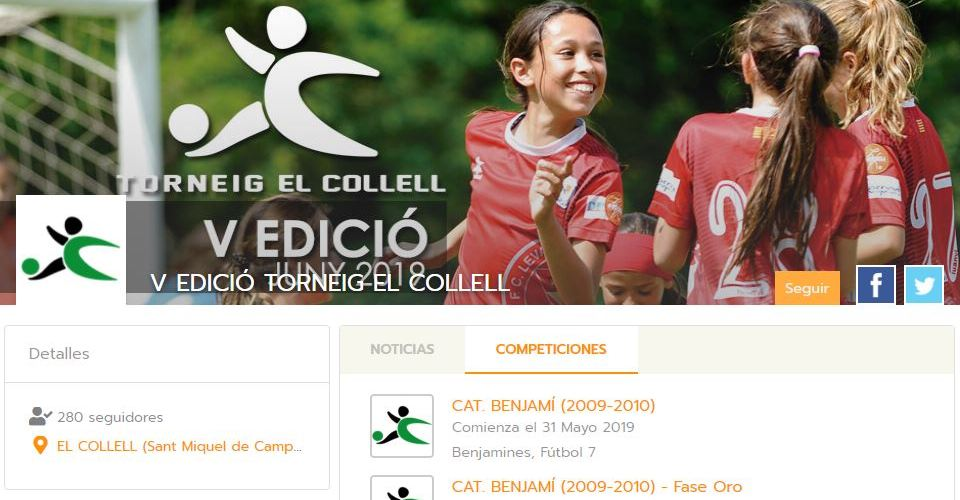 Torneig el Collell organises its tournament with Competize league management software and mobile apps