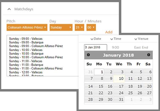 Futbol Calendario.Make Schedules Draws For Tournaments Leagues Competize