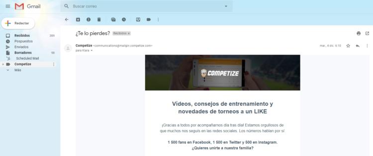 Promocionar web de torneo con newsletter