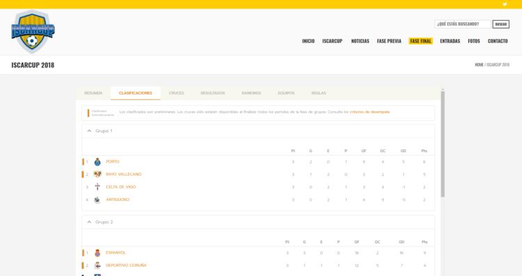 Web de torneo IscarCup - integración de clasificaciones Competize