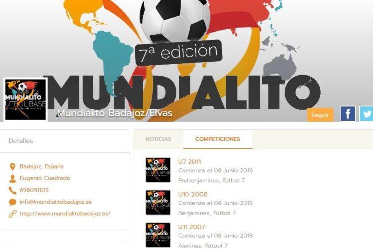 Mundialito Badajoz, Elvas calendario en Competize