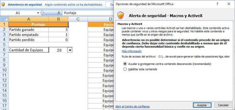 Tabla de posiciones en Excel habilitar macros