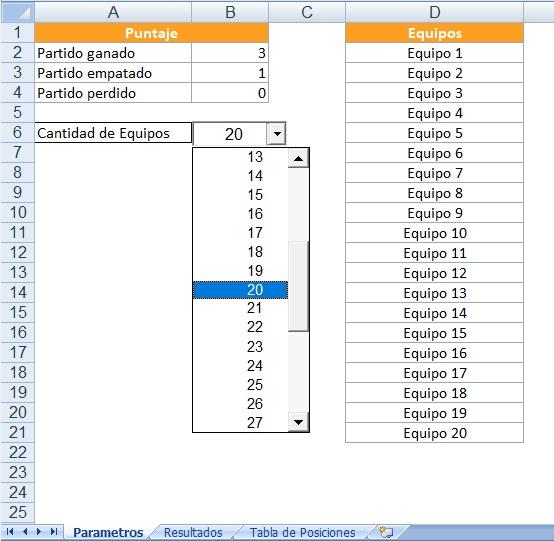 Tabla de posiciones en Excel hoja puntaje