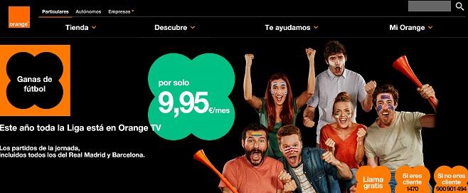 orange tv para ver fútbol online