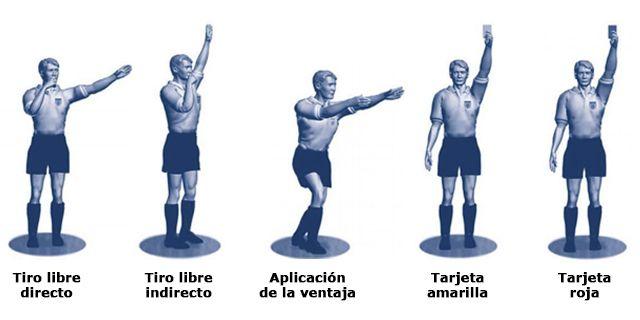 Señales y reglas para un árbitro de fútbol
