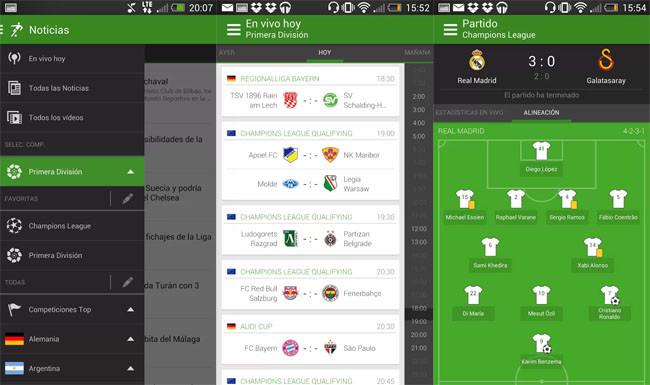 Football App para seguir resultados de fútbol en directo