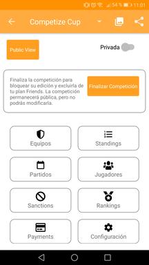 Gestionar una competición en la aplicación móvil