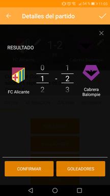 Gestionar goles del partido en la aplicación móvil