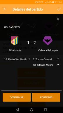 Gestionar goleadores del partido en la aplicación móvil