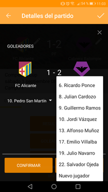 Añadir goleadores del partido en la aplicación móvil