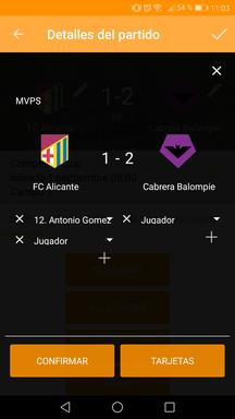 Gestionar MVP del partido en la aplicación móvil