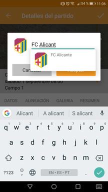 Reemplazar equipos del partido en la aplicación móvil