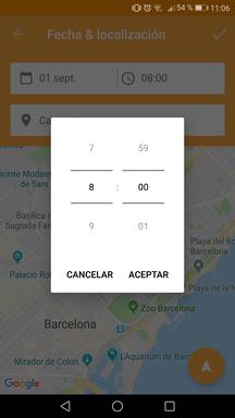 Editar hora del partido en la aplicación móvill
