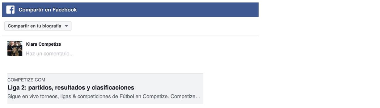 Compartir una competición en Facebook