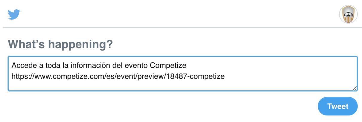 Compartir un torneo o liga en Twitter