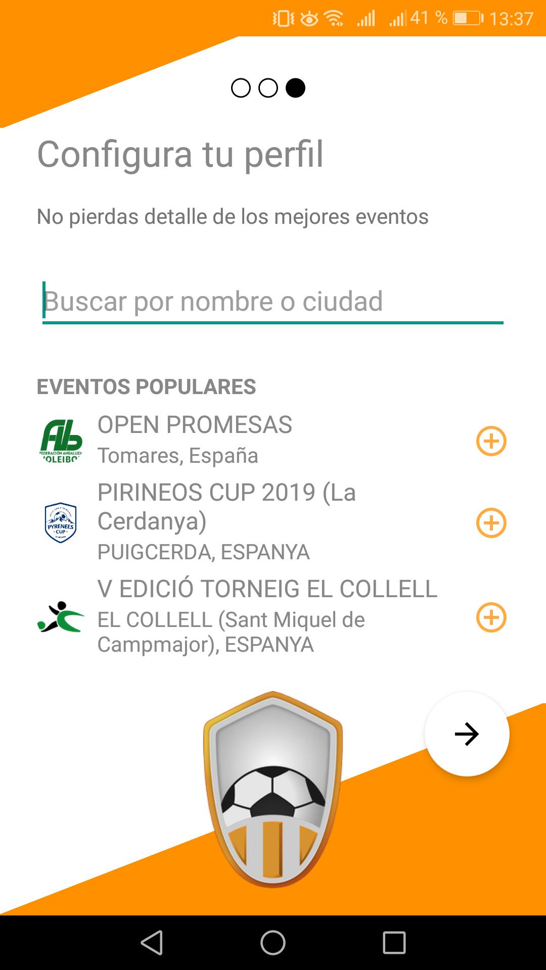 Seguir eventos favoritos en app Competize