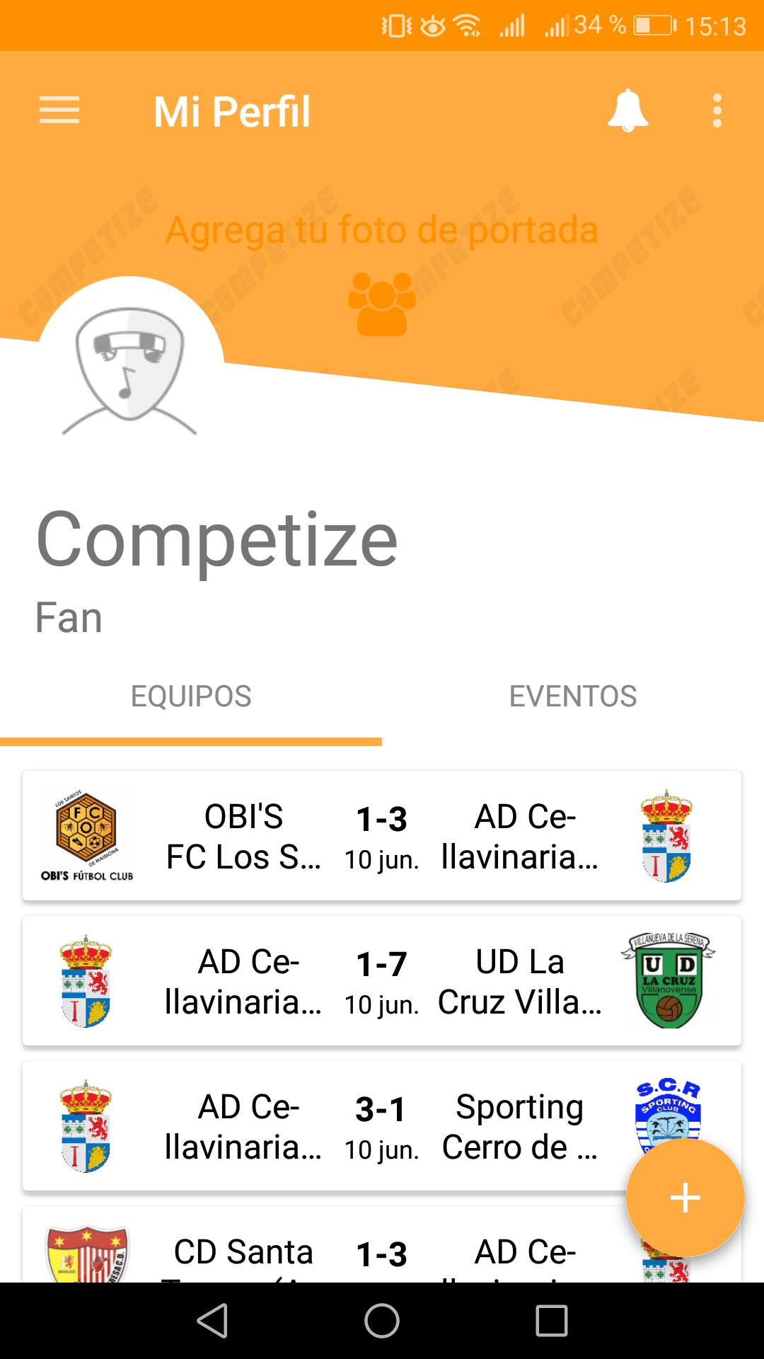Seguir torneos desde app para fans