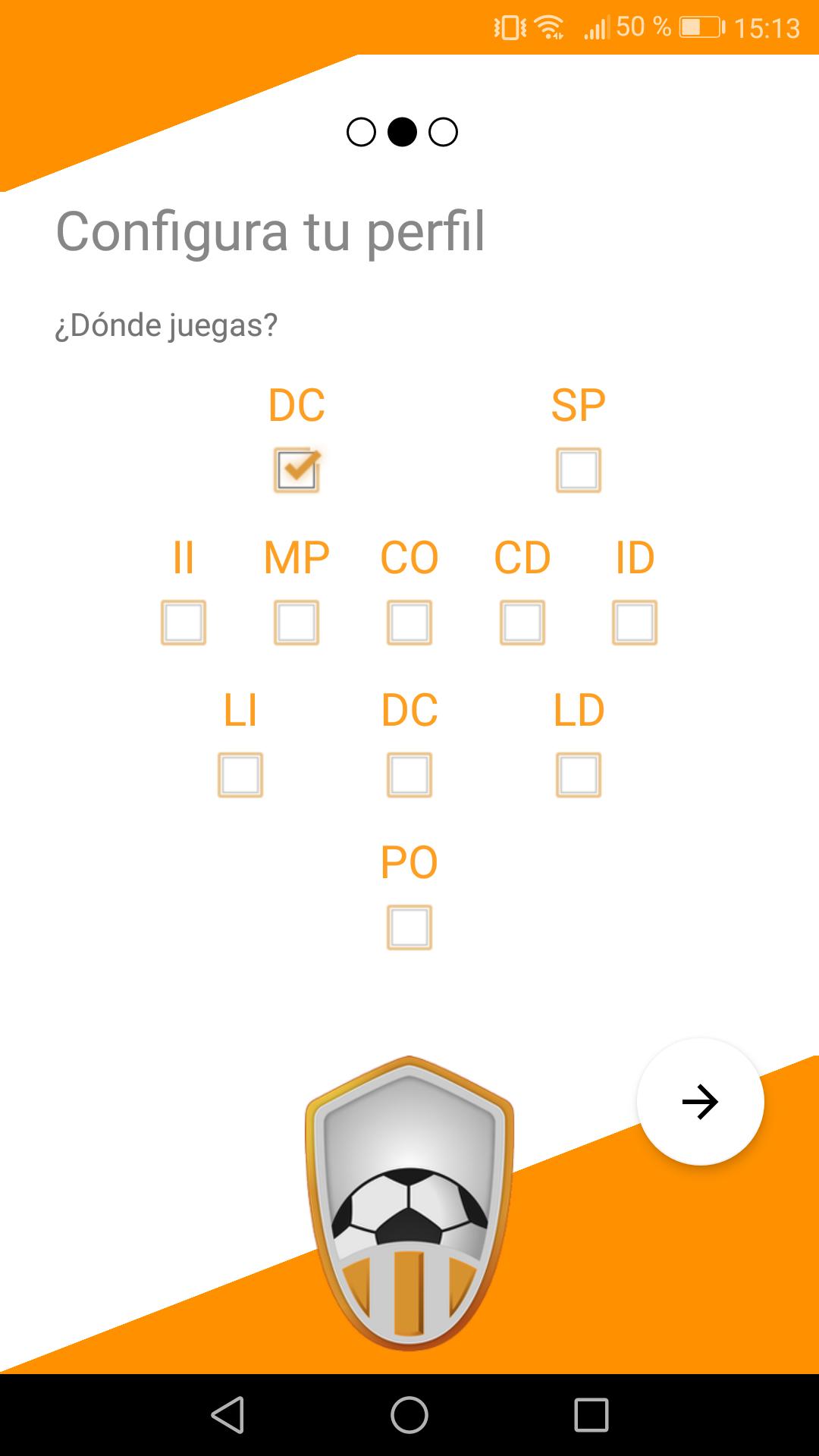 Escoger posición del jugador en el torneo