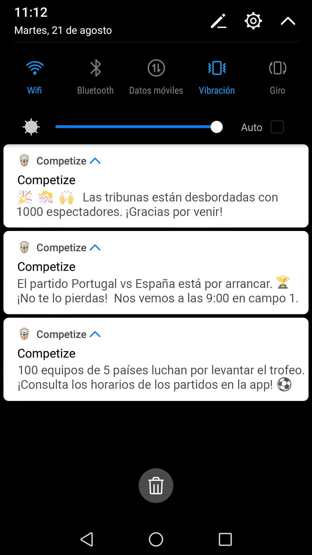 Notificaciones instantáneas desde app para torneos