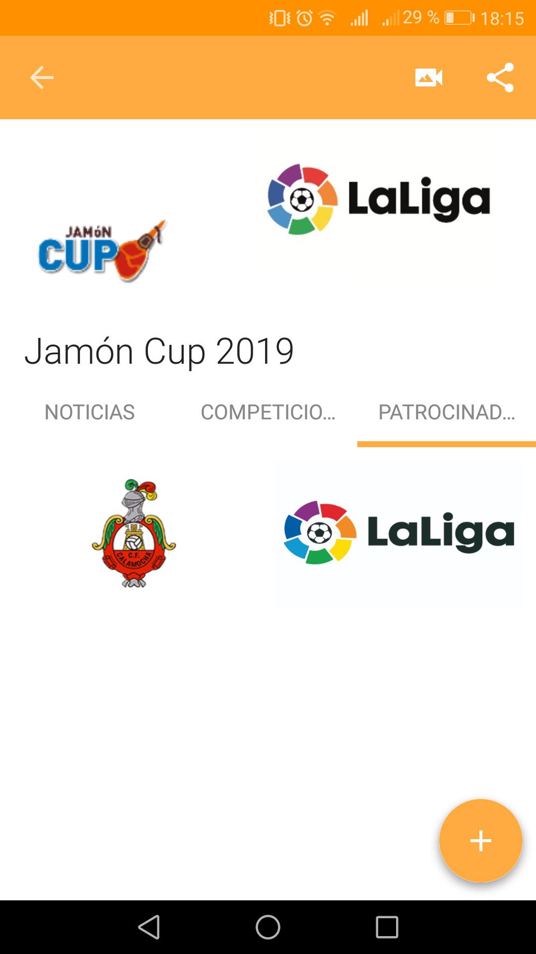 Patrocinadores del torneo en la app