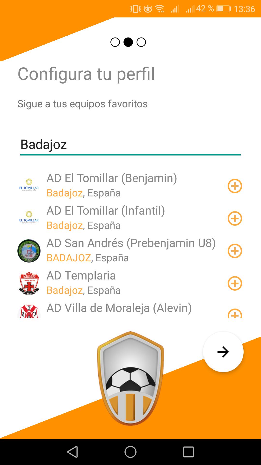 Buscar equipos en app Competize