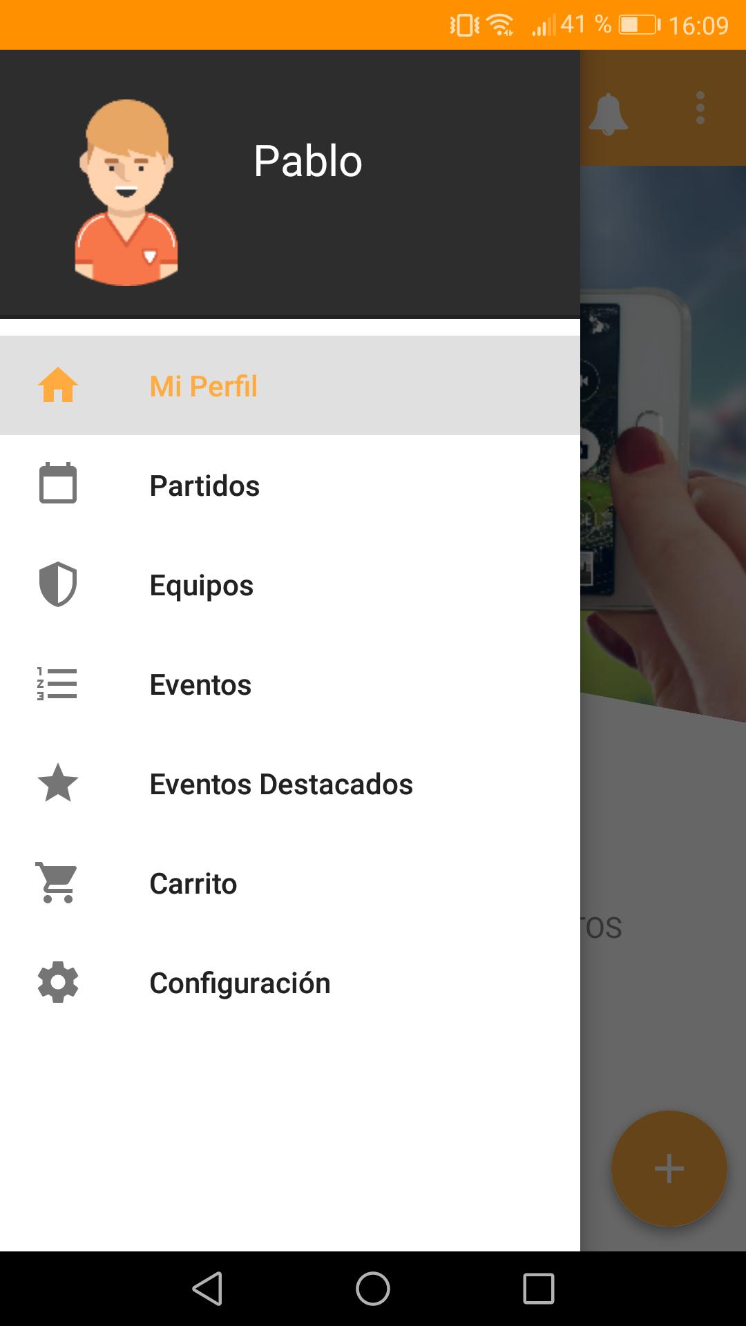 Perfil de fan en app para torneos Competize