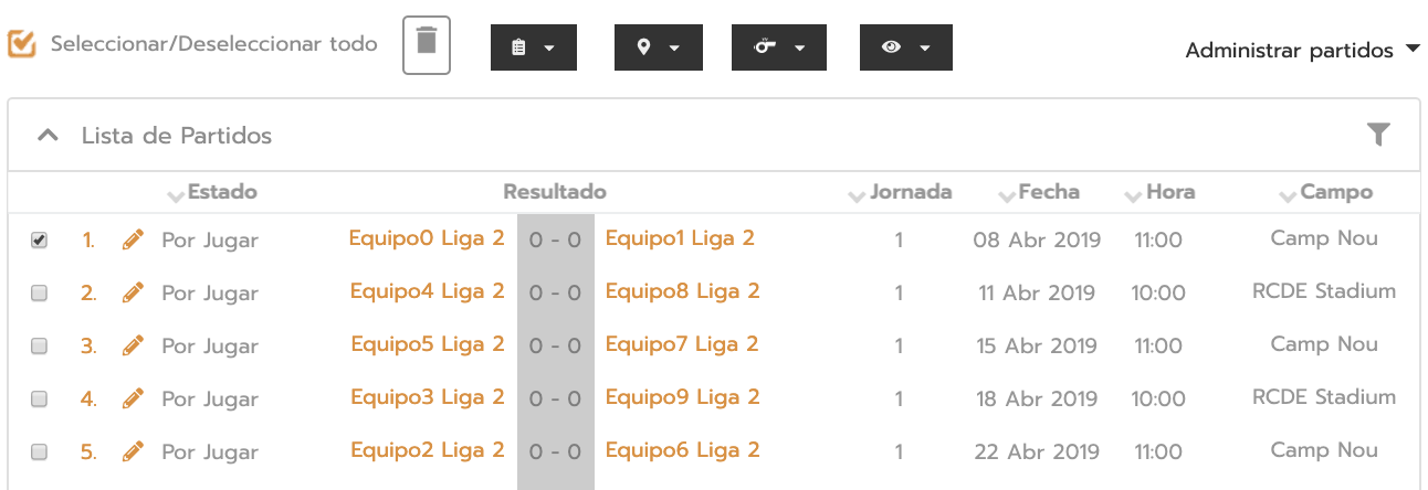 Select tournament matches to add a referee