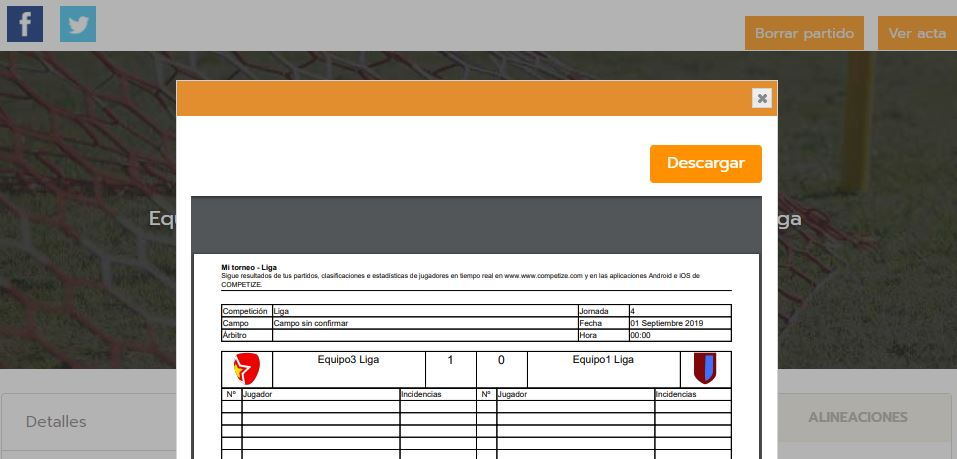 Digital score sheets for football tournaments and leagues