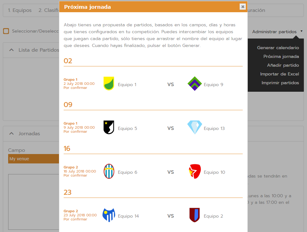 Create brackets for the next matchday