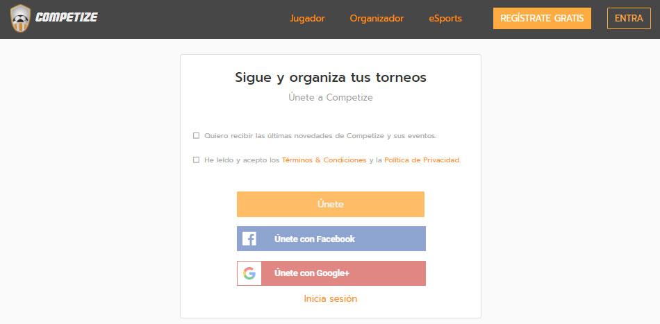 Crear cuenta y registrarse gratis en Competize