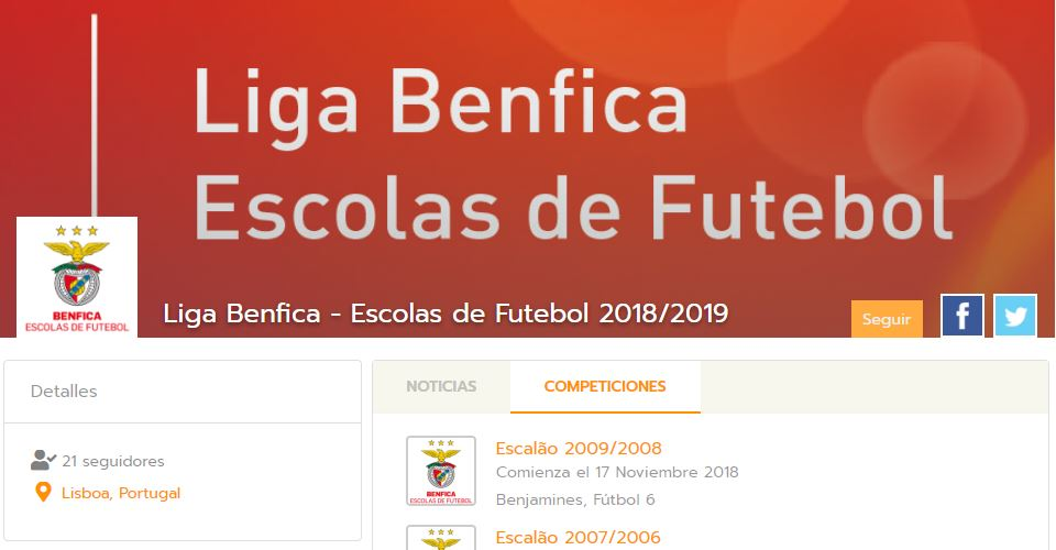 Benfica Football Academy organises their championships with Competize league management software and mobile apps