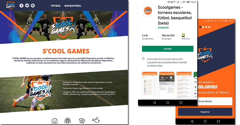 Web and mobile app development for S´Cool Games