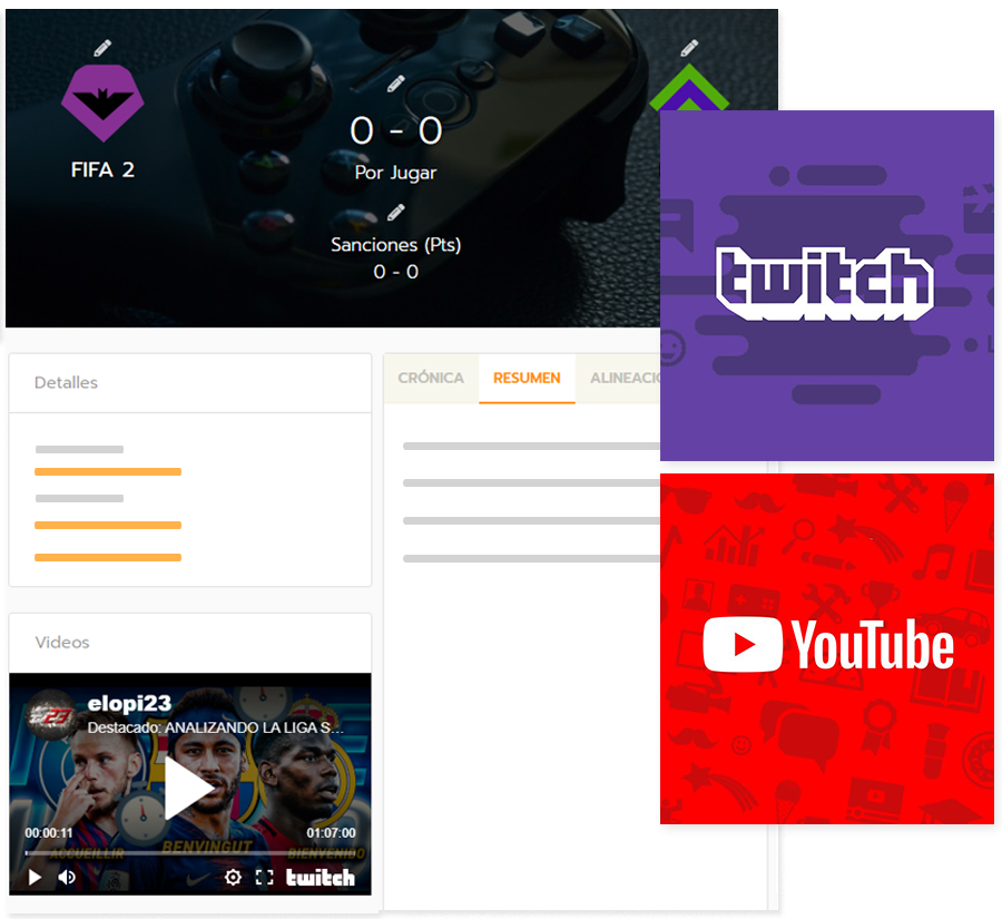 Create online eSports tournaments with news and streaming